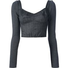 DOLCE & GABBANA tweed crop top (£354) ❤ liked on Polyvore featuring tops, shirts, crop tops, long sleeves, grey crop top, gray long sleeve shirt, v neck crop top, gray shirt and long tops