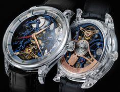 H. Moser and Cie. Venturer Tourbillon Dual Time Sapphire Blue Skeleton Watch