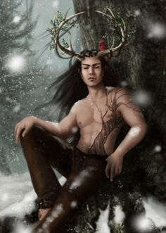 Herne the Hunter. I don't know the artist, but I love the image. Traditionally, Herne loses his life either at Halloween or the Winter Solstice, and is born again as the Green Man in the Spring around the Equinox. Yasmine Galenorn, Herne The Hunter, Holly King, Dragons, Vikings, Legends And Myths, Celtic Mythology, Winter Solstice, Green Man