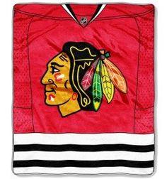 "Chicago Blackhawks 50""x60"" Royal Plush Raschel Throw Blanket - Jersey Design"