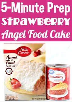 Easy Strawberry Desserts are perfect for Summer. and this is the EASIEST one you'll ever make! Just 2 ingredients and you're done! Go grab the recipe and give it a try this week! Strawberry Angel Food Cake, Angel Food Cake Desserts, Easy Strawberry Desserts, Easy Summer Desserts, Dessert Cake Recipes, Food Cakes, Baking For Beginners, 3 Ingredient Desserts, Ceramic Baking Dish