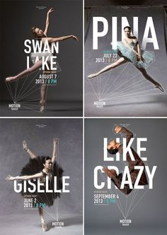 Ballet and Dance Posters for Motion Theater by Caroline Grohs | www.alicia-carvalho.com/blog Graphisches Design, Layout Design, Cover Design, Logo Design, Corporate Design, Ballet Posters, Dance Posters, Protest Posters, Web Minimalista