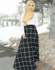 Pinterest: @eighthhorcruxx. Saimascorner. White top, black and white checked skirt and yellow scarf