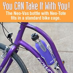 Take a Neo-Vas stainless steel bottle along with you on your bike rides! A Neo-Vas bottle with Neo-Tote (keeps beverages colder, longer) will fit in a standard bike cage. Great for water or other cold beverages. www.neo-vas.com