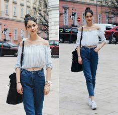 Nora Aradi - Zara Shirt, Zara Mom Jeans, Zara Bag, Adidas Shoes, Daniel Wellington Watch - Blues