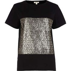 Black sequin panel t-shirt - t-shirts - tops - women