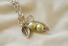 Two Peas Wire Wrapped Pea Pod Necklace with by PrairieDustInc, $18.00 So sweet & cute. A great gift for a Daughter, Granddaughter,Neice etc,.