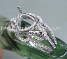 6.5mm trillion cut solid 14k white gold natural diamond engagement wedding semi mount ring