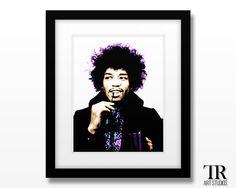 Jimi Hendrix Pop Art Print Available in Multiple by TRArtStudios