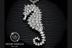 """Unda' da' sea!"" - The Little Mermaid - #Seahorse #Jewelry #Stylish #Accessory #Design #Fashion #HenryDesigns #Trendy #Style #Look #Fashionable #Collection #necklace #diamonds #diamond"