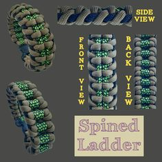 Spined Ladder Paracord Tutorial, Paracord Knots, Paracord Ideas, Paracord Projects, Paracord Bracelet Designs, Bracelets Design, Paracord Bracelets, Survival Bracelets, Leather Bracelets