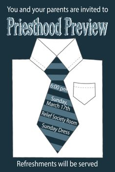 Here is Priesthood Preview invitation I designed for my sister-in-law.  Kinda fun!