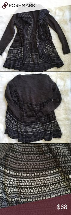 Gorgeous multi colored cardigan sweater NWOT Cardigan sweater with ruffle detail down thelet the lapel. Grey, denim blue , and black by s/i/o/n/i s/i/o/n/i Sweaters Cardigans