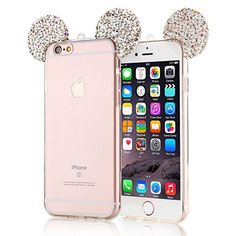 iPhone 6 Case, iphone 6 clear case,Lovely Animal 3D glitter bling Mouse Ears with sparkly diamond soft rubber Case for Apple iphone 6 6s 4.7 inch, http://www.amazon.com/dp/B017YTXB00/ref=cm_sw_r_pi_s_awdm_JdQKxbY3KCE4M