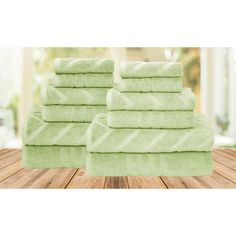 The Casablanca Collection Jacquard-Solid Towel Set: Chevron/Sage ($40) ❤ liked on Polyvore featuring home, bed & bath, bath, bath towels, green, green hand towels, green bath towels and jacquard bath towels