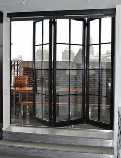 porte accordeon interieur en verre et fer noir