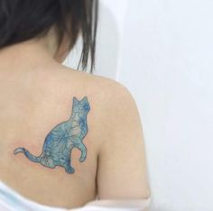 Blue floral cat tattoo by Wonseok