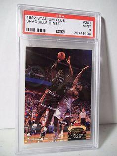 1992 Stadium Club Shaquille O'Neal RC PSA Mint 9 Basketball Card #201 NBA…