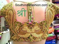 Cut Work Bridal Peacock Blouse – Peacock design bridal saree blouse with cut work and embellished with kundans from Shree's Ethnic Trends and Bridal Lounge. For inquiries Wedding Saree Blouse Designs, Blouse Neck Designs, Wedding Blouses, Cut Work Blouse, Latest Embroidery Designs, Maggam Work Designs, Blouse Models, Peacock Design, India Fashion