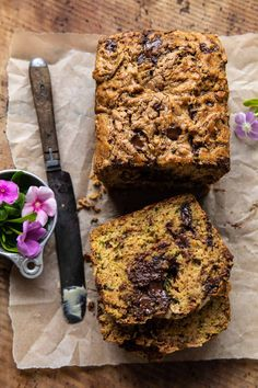 Chocolate Chunk Almond Butter Zucchini Bread...one bowl, pantry staple ingredients, super quick to mix up, kind of healthy, and oh so delicious!