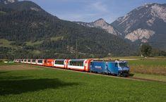 Graubünden - Glacier Express pulled by a Ge III between Reichenau-Tamins and Bonaduz Chur, By Train, Train Tracks, Glacier Express, Trains, Old Steam Train, Swiss Railways, Eurotrip, Countries Of The World