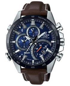 b9e70a167 G-Shock Men s Solar Analog-Digital Edifice Brown Leather Strap Watch 48.1mm  Automatic