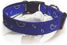 Blue Bandana Dog Collar / Country Dog Collar / Bandana Collar / Adjustable Collar / Blue Nylon / Grosgrain Ribbon / Male Dog Collar / Medium by SparklePupBoutique on Etsy