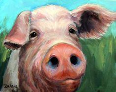 Pig Art Print of Original Painting by Dottie by DottieDracos