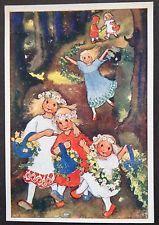 MILI WEBER~SWITZERLAND PC. CHILDREN WITH BASKETS OF FLOWERS DANCING
