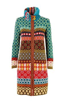 bohemian fashion, bohemian sweater, boho IVKO Light Lambswool Coat with Geometric Pattern, Multi-color, US 10 - EUR 40 Quirky Fashion, Colorful Fashion, Bohemian Fashion, Fashion Advice, Fashion Outfits, Coat Patterns, Knitting Patterns, Fair Isle Knitting, Colourful Outfits