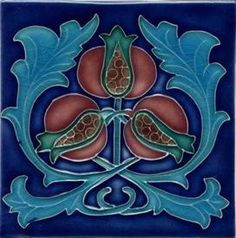 Porteous V73B Art Nouveau Pomegranate Tile :: Ford Craftsman