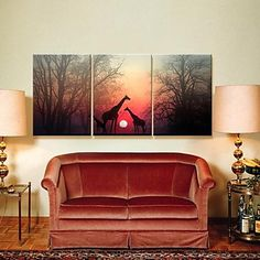 Stretched Canvas Art Animal Love Set of 3 – USD $ 79.99