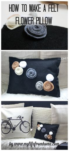 How to DIY felt flowers and design a felt flower pillow. It's easy and oh so cute. Perfect for gifts to friends and family. How to Make a Felt Flower Pillow by www.mylifefromhome.com