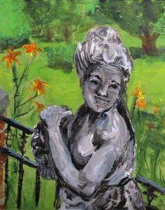 Among the Daylillies  8 x 10 acrylic on canvas  by susan e. jones