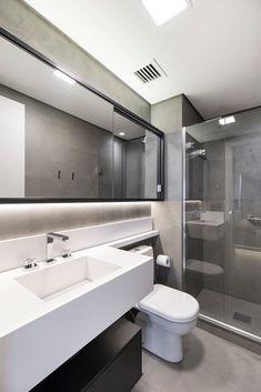 Banheiro moderno masculino: banheiros por abhp arquitetura,   homify My House Plans, Bathroom Design Luxury, Bathroom Trends, Glass Bathroom, Farmhouse Homes, Minimalist Interior, Sweet Home, Bedroom Decor, New Homes