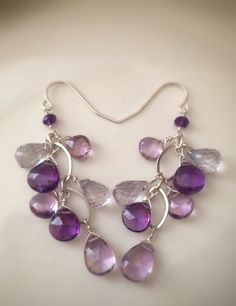 Faceted Amethyst Sterling Silver Dangle. These are so beautiful and love the color.