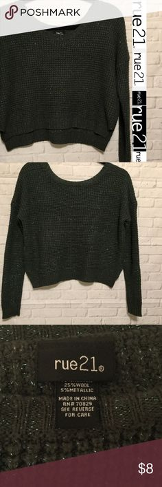"""cropped sweater women's medium green sparkles Rue This is a stylish Rue 21 sweater size medium EXCELLENT CONDITION and comes from a smoke free home.  Length of sweater measures front 16"""" back length 18"""" armpit to armpit measures approx 19.5"""".  This is a high low sweater.  Buy with confidence I am a top rated seller, mentor and fast shipper.  Don't forget to bundle and save.  Thank you. Rue21 Sweaters Crew & Scoop Necks"""
