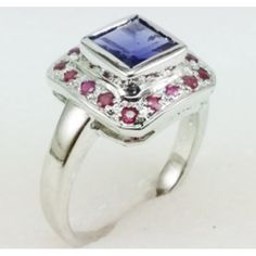Stunning 925 Sterling Silver Engagement Ring with Natural Iolite and Ruby