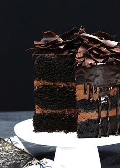 rustic chocolate cake with chocolate ganache