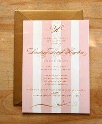 ブライダル昼食会、ブライドメイド「昼食会や結婚式のシャワーの招待状 - ピンクモノグラム&ストライプ