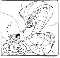 Aladdin Wakes Genie Up Coloring Page | Disney | Pinterest | Clip art