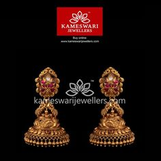 Mesmerizing collection of gold earrings from Kameswari Jewellers. Shop for designer gold earrings, traditional diamond earrings and bridal earrings collections online. Buy Earrings, Jewelry Design Earrings, Gold Earrings Designs, Antique Earrings, Earrings Online, Jhumka Designs, Gold Ring Designs, Gold Bangles Design, Gold Jewellery Design