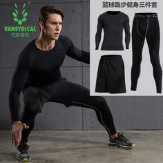 3pcs Compression Quick Dry Tight Tracksuit Men Training Fitness Long Sleeve Shirt Pant Sport Suit Male O-neck Gym Running Set