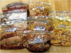 10 crock pot freezer meals - Thai Peanut Chicken, Cheesy Chicken Spaghetti, Cashew Chicken, etc.