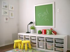 Brilliant idea for a playroom blackboard with heaps of crafting space for kids