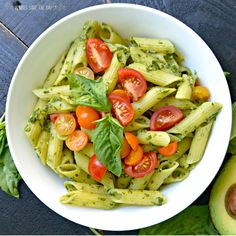Avocado Basil Pesto Pasta takes only minutes to make and is flavorful and creamy without using any oil. It's delicious hot or at room temperature. Learn how to make it by visiting www.veggiessavetheday.com, or pin and save for later! Vegan | Gluten Free