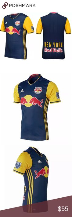 b3b631d9337 Description  NY Red Bulls Authentic Away Jersey 2016 Dark Blue Soccer  Jersey New S PRODUCT DNA