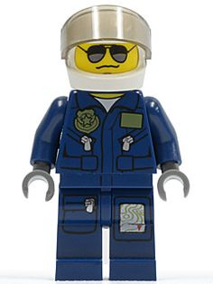 Minifig cty383 : Forest Police - Helicopter Pilot, Dark Blue Flight Suit with Badge, Helmet, Black and Silver Sunglasses, NO Eyebrows [Town:City:Police] - BrickLink Reference Catalog