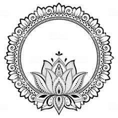 Circular pattern in form of mandala for Henna, Mehndi, tattoo, decoration. Decorative frame with lotus flower ornament in ethnic oriental style. Coloring book page. Henna Mehndi, Tatoo Henna, Tatoo Art, Henna Art, Hamsa Tattoo, Mandalas Painting, Mandalas Drawing, Madhubani Painting, Mandala Coloring Pages
