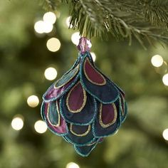 Fabric Layered Peacock Onion Ornament